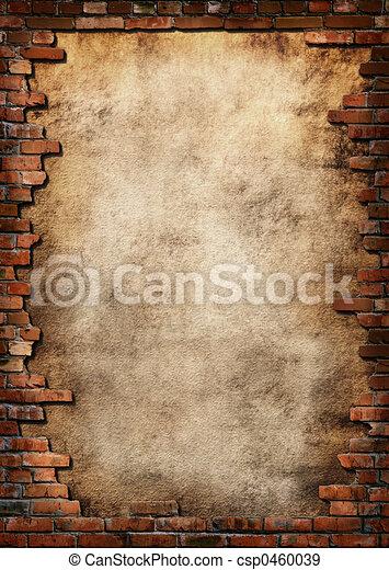mur, grungy, brique, cadre - csp0460039