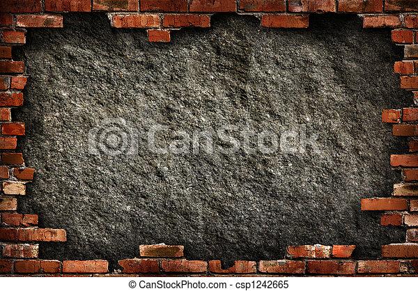 mur, grungy, brique, cadre - csp1242665
