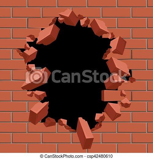 Mur Illustration Vecteur Exploser Trou Brique Rouges Dehors Vecteur Illustration Mur Surface Casse Construction Canstock