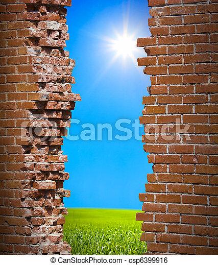 mur, liberté, concept, breaken - csp6399916