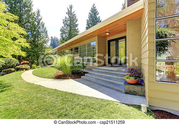 Mur, maison, moderne, verre, extérieur, paysage. Entrée, yard ...