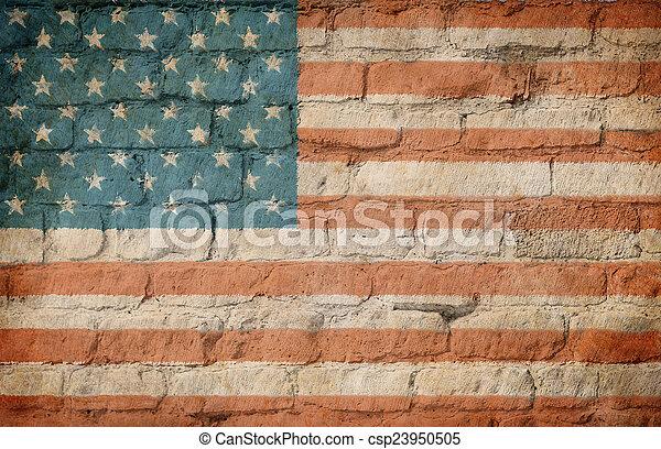 mur peint, drapeau, brique, usa - csp23950505