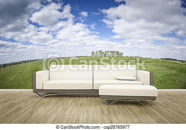 mur, photo, sofa, mural, plancher - csp28765977