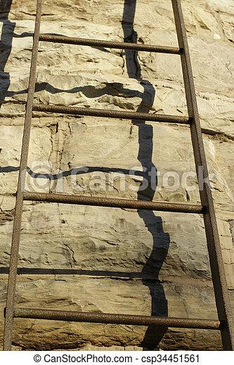 mur, pierre, métal, escalier