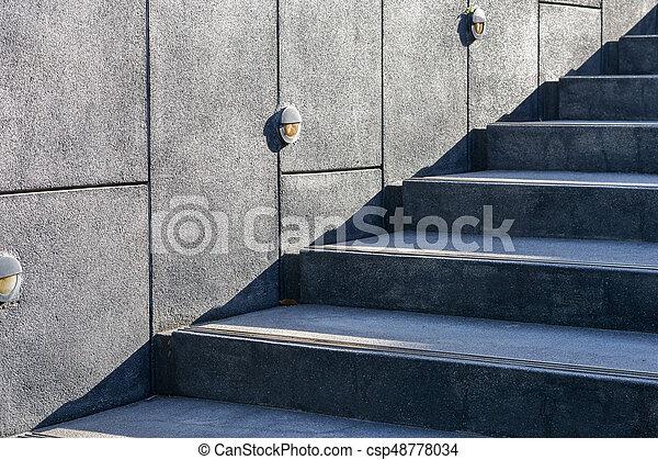 Mur, pierre, noir, ciment, escalier.