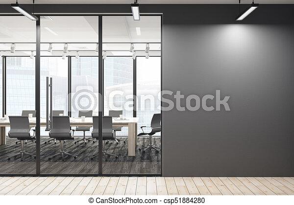 Mur, salle réunion, vide, contemporain. Ville, haut, salle, mur ...