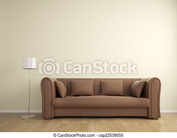 mur, sofa, couleur, lampe, beige, intérieur, meubles - csp22539555