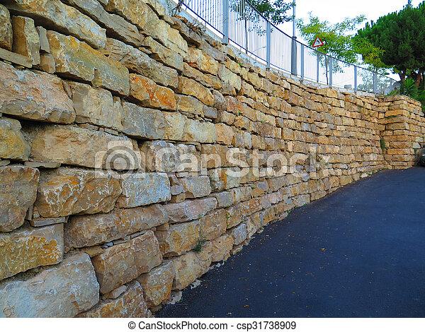 Mur sout nement pierre blocs mur r sidentiel andalucia rue retenir granit alora - Mur soutenement pierre ...