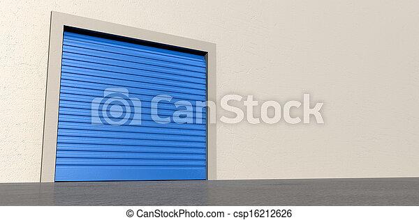 mur, stockage, porte, fermé - csp16212626