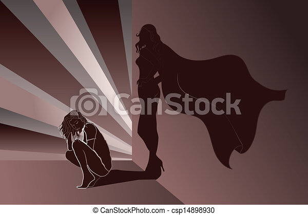mur, superhero's, femme ombre, triste - csp14898930