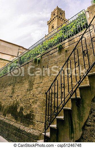 mur, sur, pitigliano, tour, escalier, tuf, vue