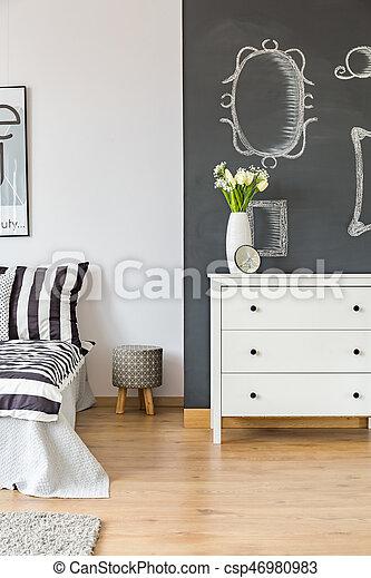 Charmant Mur, Tableau Noir, Chambre À Coucher
