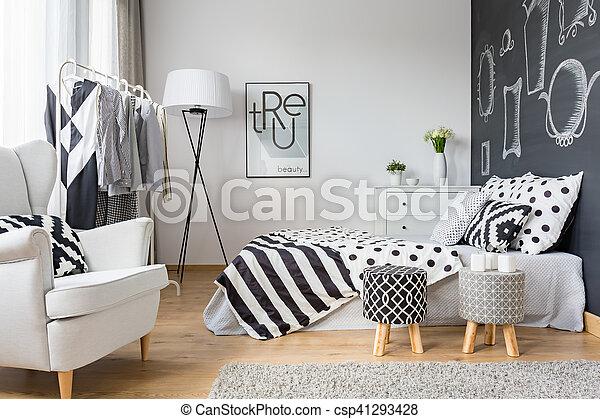 Mur, Tableau Noir, Confortable, Chambre À Coucher