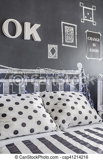 mur, tableau noir, noir, chambre à coucher, décoré, blanc