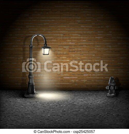 mur, vendange, brique, streetlamp, arrière-plan. - csp25425057