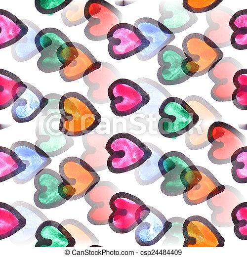 Mural heart background seamless pattern  texture wall - csp24484409