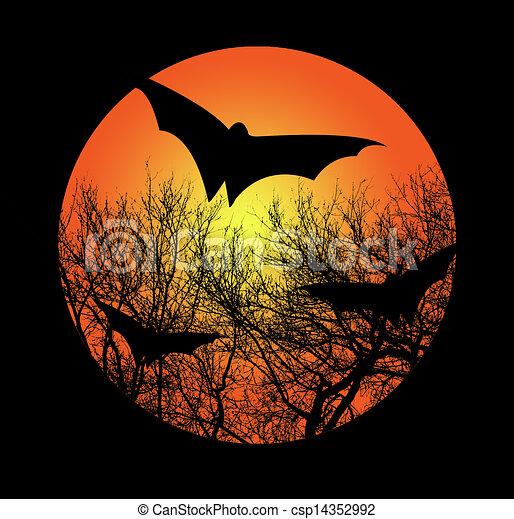 La ilustración de Halloween con murciélago - csp14352992