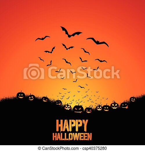 Antecedentes de Halloween con murciélagos y calabazas - csp40375280
