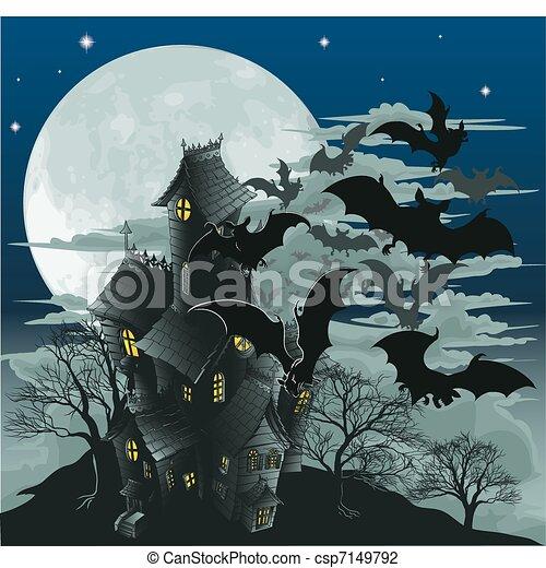 Casa embrujada y murciélagos ilustrados - csp7149792