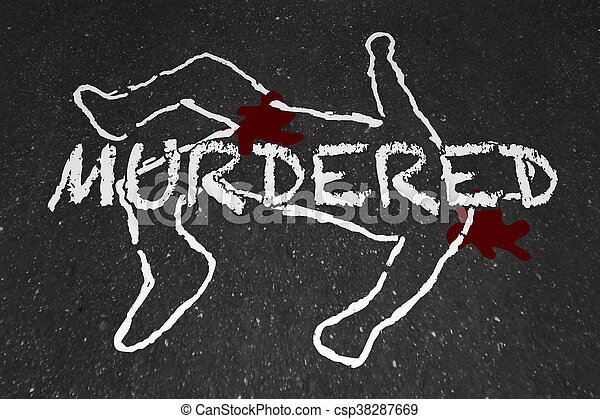Murdered Killed Dead Body Chalk Outline Victim Illustration - csp38287669