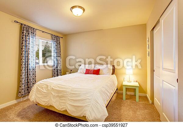 Muren, beige, slaapkamer, interieur, mooi en gracieus, curtains ...