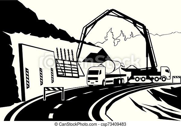 Edificio de retención de pared en la carretera en la montaña - csp73409483