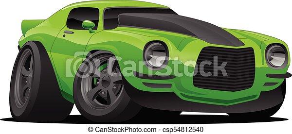 Muscle Car Cartoon Illustration Hot American Muscle Car Cartoon