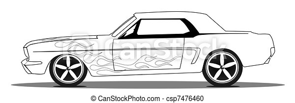 Muscle Car Vintage Muscle Car With Flames Line Drawing