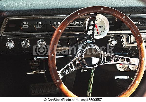 Muscle Car Interior Macro Of A Vintage American Automobile