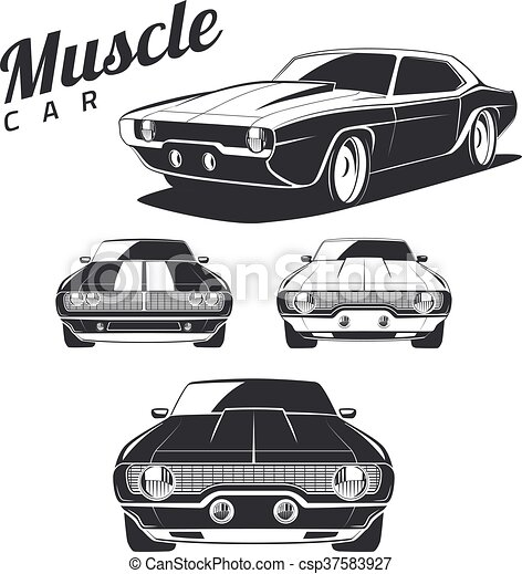 Muscle Car Isolated Classic Muscle Car Isolated On White Background