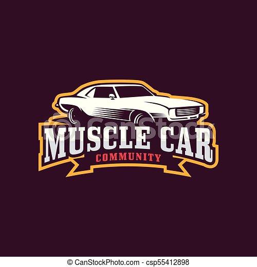 Muscle Car Logo American Muscle Car Vector Logo Template