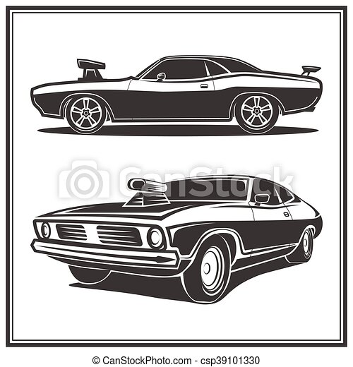 Muscle Car Poster Set Vector Illustration Muscle Car Vector Poster