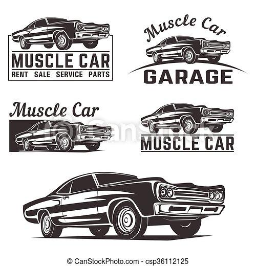 muscle car vector logo emblem. muscle car vector poster logo