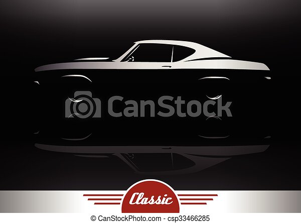 Muscle Car Vehicle Silhouette Classic Sports Muscle Car Vehicle