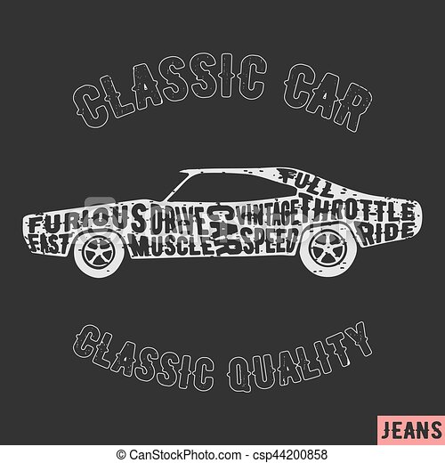 1ee7d516 T-shirt print design. muscle car vintage stamp. printing and badge ...