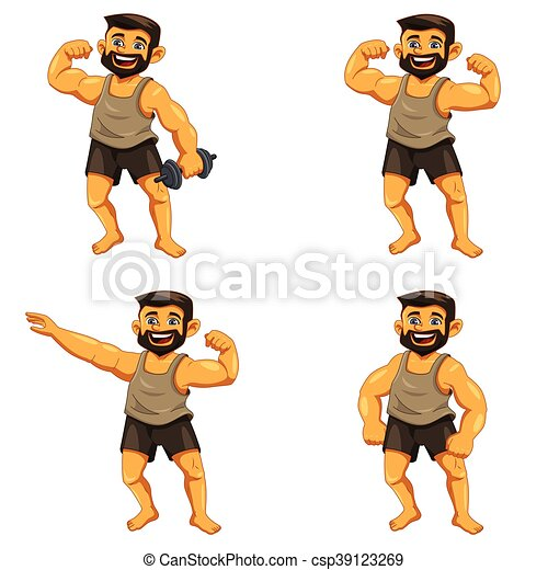 a vector illustration of muscle man posing icons clip art vector rh canstockphoto com  muscle man clipart free
