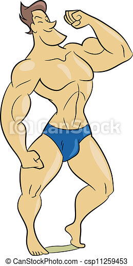 cartoon style illustration of a muscle man clipart vector search rh canstockphoto ca muscular man clipart Muscle Man Vector