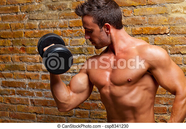 muscle shaped body man with weights on brick wall - csp8341230