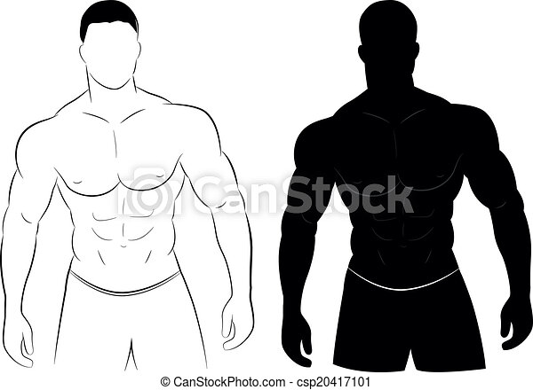 muscle, silhouette, homme - csp20417101
