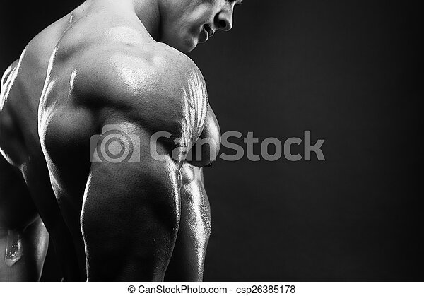 Muscled male model showing his back - csp26385178