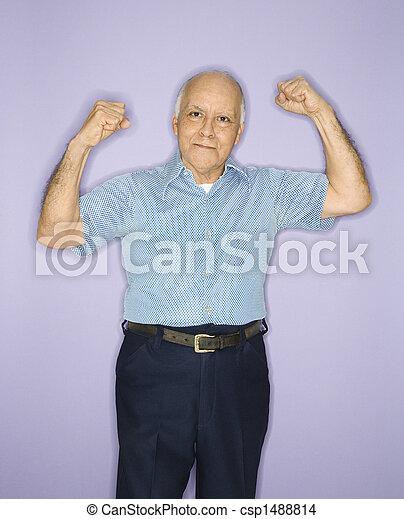 muscles., flexionar, homem - csp1488814