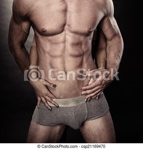 muscolare, nudo, femmina porge, sexy, uomo - csp21169470