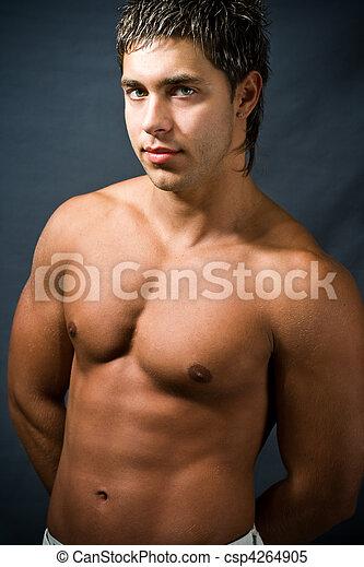 muscolare, shirtless, uomo - csp4264905