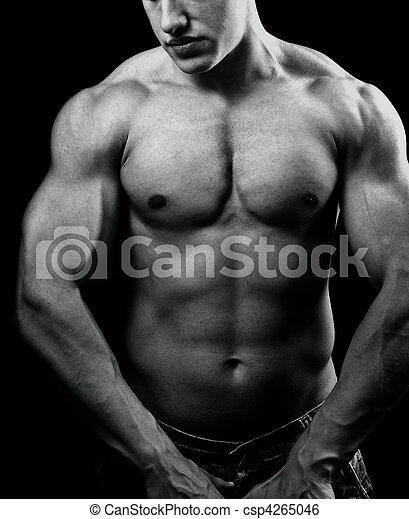 muscolare, uomo, grande, potente, sexy, corpo - csp4265046