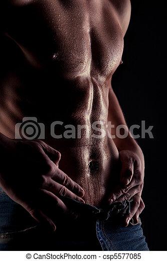 musculaire, eau, homme, estomac, dénudée, gouttes, sexy - csp5577085