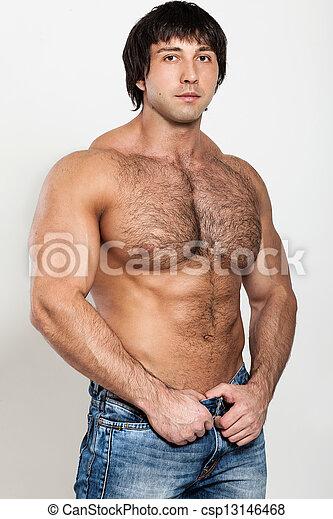 musculaire, homme, torse, jeune, dénudée - csp13146468