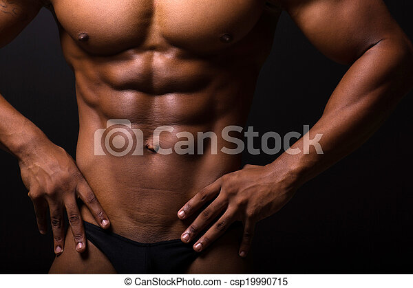 muscular african man 6 packs - csp19990715