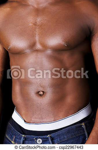 Muscular black man shirtless - csp22967443