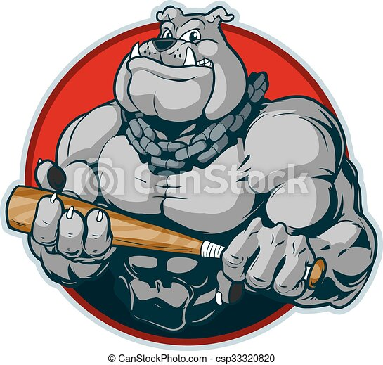 muscular bulldog with bat mascot vector cartoon clip art vector rh canstockphoto co uk