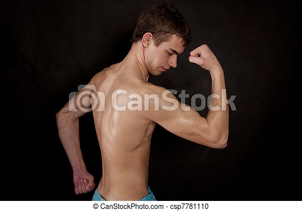 Muscular Male Body On Black Background Stock Photography Search